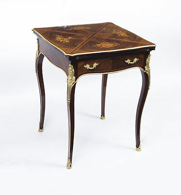 Antique Victorian Rosewood & Ormolu Envelope Card Table c.1880
