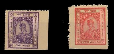 IDAR STATE, India-2 Different Mint Stamps-Feudatory State