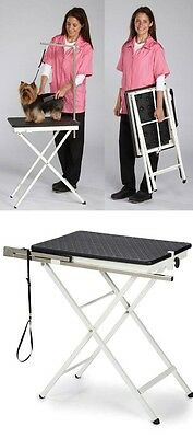 PORTABLE PET Folding GROOMING TABLE&Adjustable ARM&LOOP*Home Travel Mobile*BLACK