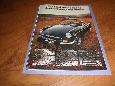 "Vintage MG AD ""First on the Scene""-Original Magazine Print-1974"