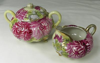 Vintage Hand Painted Creamer and Sugar Bowl & Lid Dark Pink Mums Gold Trim
