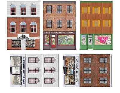 Main Street Storefronts Flat Front Buildings - O Scale Structures & Backgrounds