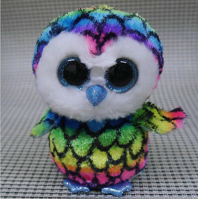 TY BEANIES BOOS ~Aria Owl  Glitter eyes Stuffed toy missing tags and tush tag