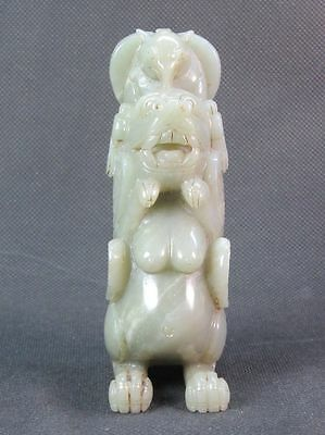 Chinese Elephant Head Dog Carved Natural Celadon Hetian Nephrite Jade Statue