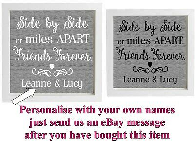Vinyl sticker 20x20cm DIY Box Frame Best Friends quote SIDE BY SIDE personalise