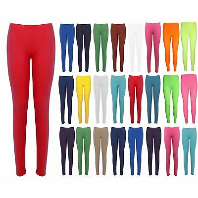 Womens Plain Basic Trousers Ladies Full Ankle Length Stretch Jeggings Leggings