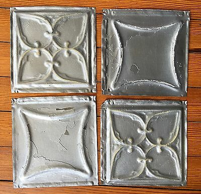 "Antique 1890's Tin Ceiling Tiles 4- 6"" x 6""  Silver SEE OUR SALVAGE VIDEOS D41a"