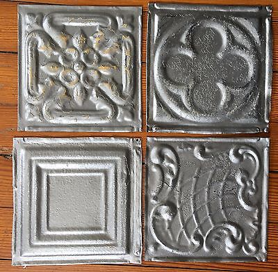 "Antique 1890's Tin Ceiling Tiles 4- 6"" x 6""  Silver SEE OUR SALVAGE VIDEOS D53a"