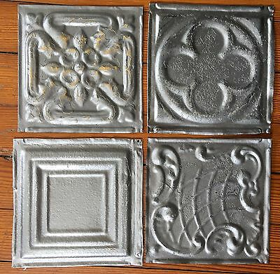 "Antique 1890's Tin Ceiling Tiles 4- 6"" x 6""  Silver Reclaimed Metal D53a"