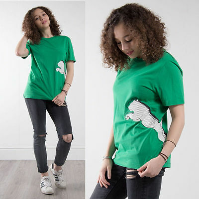 Puma T-Shirt Womens Retro Crew Neck Green Short Sleeve Casual Gym Fitness 10