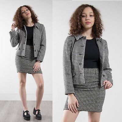 Womens Vintage 80's Black And White Houndstooth Blazer Dogtooth Check Jacket 12