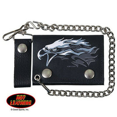 """4"""" Tri Fold Tribal Eagle Head Design Leather Wallet with Chain and Belt Loop"""