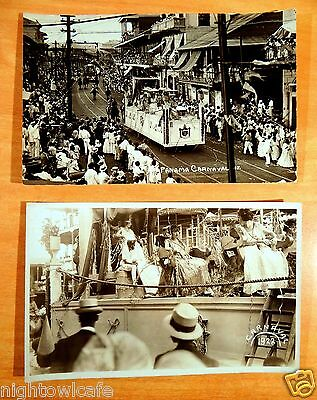 2 Photo Postcards American Legion Float Carnival Parade 1922 Panama Canal Zone