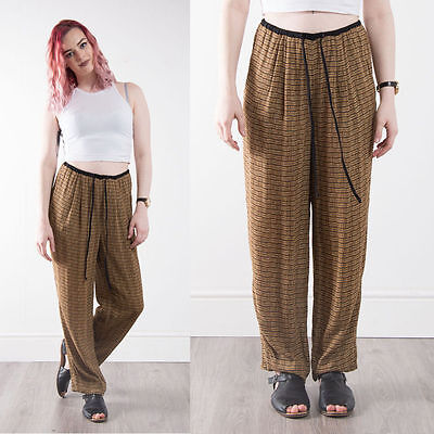 Womens Vintage Patterned Beach Trousers Boho Patterned High Waist Loose Fit 12