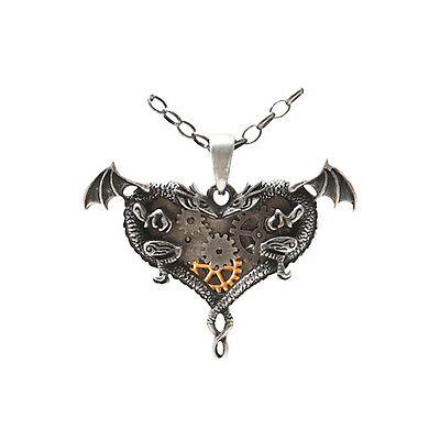 DUAL DRAGON HEART Necklace Gearwork Pendant steam punk mystica jewelry