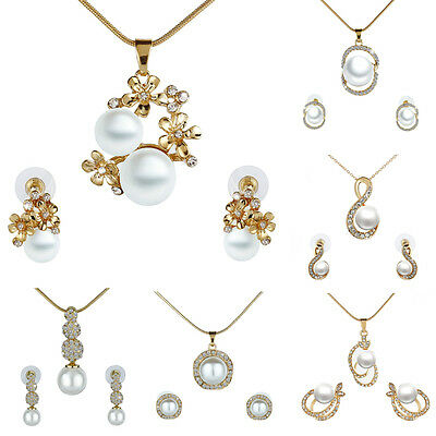 Fashion Women Jewelry Pearl Rhinestone Chain Necklace Pendant and Earrings Set