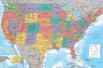 Map of USA poster UNITED STATES OF AMERICA Large size 61 cm X 91.5 cm Brand New