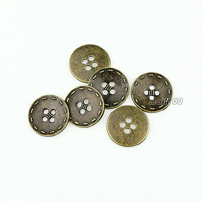 12pcs Antique Bronze Metal Round 15mm 20mm 4holes Shirt Button For Sewing Crafts