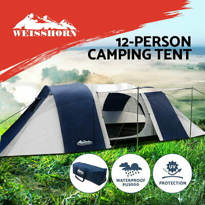 Weisshorn 12 Person Family Camping Dome Tent Canvas Swag Hiking Beach 2 Rooms