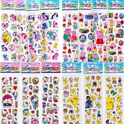 2/10/20x Peppa Pig My Little Pony Mickey Spider Man Pokemon Puffy Stickers lot
