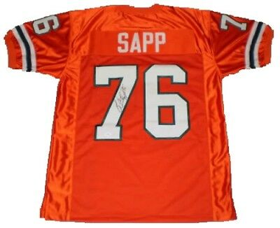 Warren Sapp Autographed Signed Miami Hurricanes #76 Orange Throwback Jersey Jsa