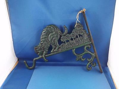 Cast Iron Metal Plant Hook Hanger Cat Flowers Grass Green Pattern Wall Mount