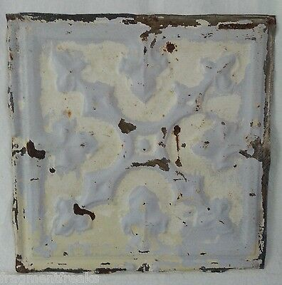 "1890's 12"" x 12"" Antique Tin Ceiling Tile Vintage Ivory ZZ11  Reclaimed Shabby"