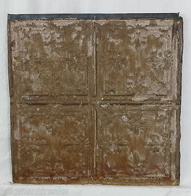 "1890's 12"" x 12"" Antique Tin Ceiling Tile Vintage Rust SG13 Shabby metal"