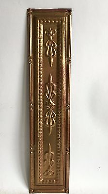"""5.5"""" x 24.5"""" Antique Tin Tile *See Our Salvage Videos* Vintage Metal Gold A1"""