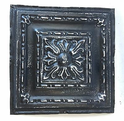 "12"" x 12"" Antique Tin Ceiling Tile Metal 97A  Black *SEE OUR SALVAGE VIDEOS*"