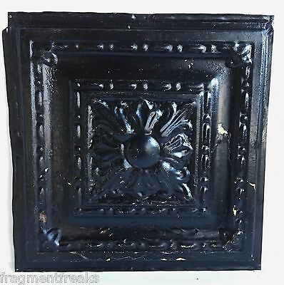 "12"" x 12"" Antique Tin Ceiling Tile B22a Black Vintage Shabby Metal Chic"