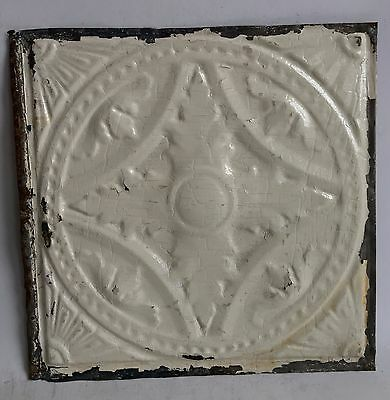 "12"" x 12"" Antique 1890's Tin Ceiling Tile Ivory A49 *SEE OUR SALVAGE VIDEOS"