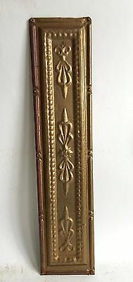 """5.5"""" x 24.5"""" Antique Tin Tile *See Our Salvage Videos* Vintage Metal Gold A3"""