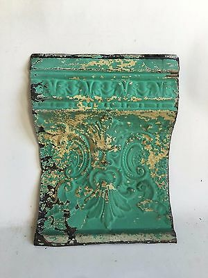 "Antique Tin Ceiling Tile Old Man Of The North 12"" x 16"" Blue C24a *See Videos*"