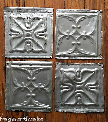 "Reclaimed Tin Ceiling Tiles 4 6"" x 6"" *SEE OUR SALVAGE VIDEOS* Silver D28a"