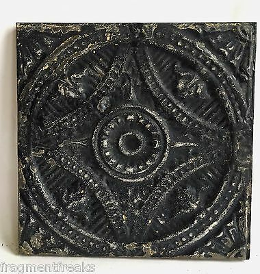 """11"""" x 11 Antique Tin Ceiling Tile Wrapped Frame Anniversary Wall Art B93a Black"""
