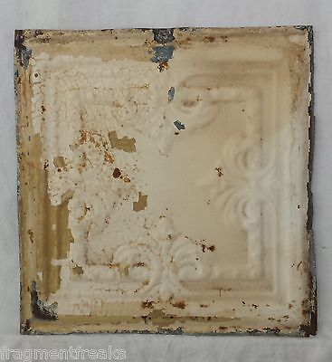 "12"" x 12"" Antique Tin Ceiling Tile *SEE OUR SALVAGE VIDEOS* Vintage Cream JR20"