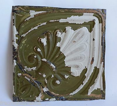 """12"""" x 12"""" Antique Tin Ceiling Tile *SEE OUR SALVAGE VIDEOS White & Green F10"""