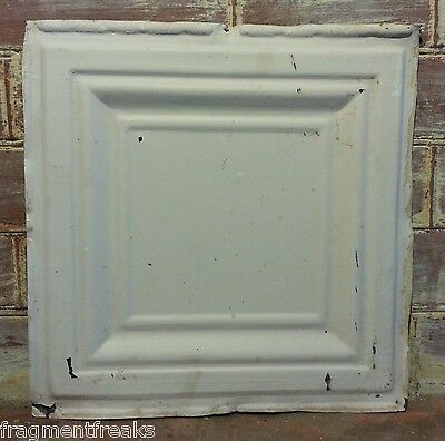 "1890's 12"" x 12"" Antique Tin Ceiling Tile Blush QT2 * Reclaimed Shabby Metal"