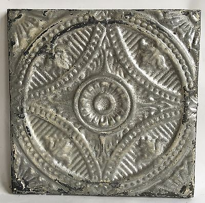"11"" x 11 Antique Tin Ceiling Tile Wrapped Frame Anniversary Wall Art B92a Silver"