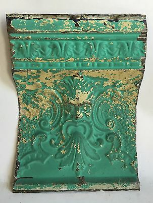 """Antique Tin Ceiling Tile Old Man Of The North 12"""" x 16"""" Blue C23a *See Videos*"""
