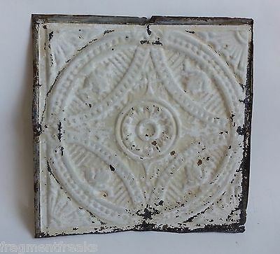 "12"" x 12"" Antique Tin Ceiling Tile Reclaimed White & Tan F8 Metal"