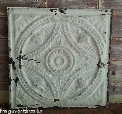 "12"" x 12"" Antique Tin Ceiling Tile *SEE OUR SALVAGE VIDEOS TR9  Ivory Taupe"