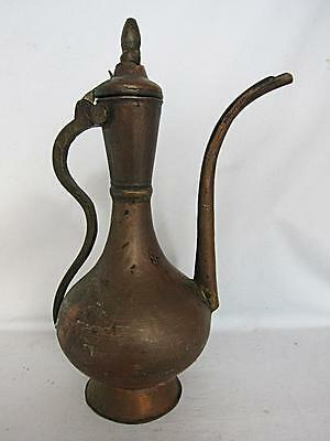 HUGE ANTIQUE ARABIC ISLAMIC COPPER EWER 1900 water jug coffee pot vase dallah