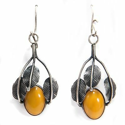 Vintage Bernstein OHRRINGR gefasst in Silber, Butterscotch Baltic Amber Earrings