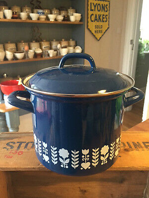 Vintage Blue & White Patterned Enamel Twin-Handled Deep Cooking Pot / Casserole