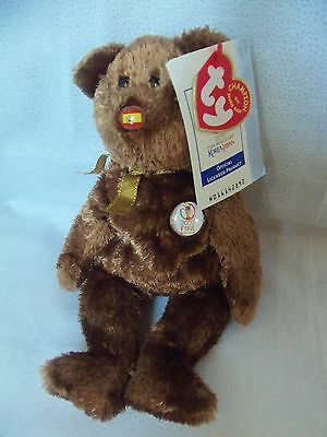 "TY Beanie Babies 8"" FIFI Korea Japan World Cup Teddy Bear * Champion *  2002 NWT"