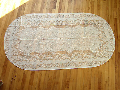 Antique/vintage Lace Tablecloth Oval  Off White  Italy?