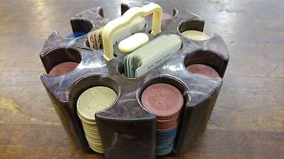 Poker Chip Caddy Carousel with Playing Cards Marble Bakelite?  Vintage J46858