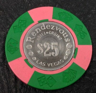 Rendezvous $25 Casino Chip Las Vegas Nevada Diecar Coin Inlay 1974 FREE SHIPPING